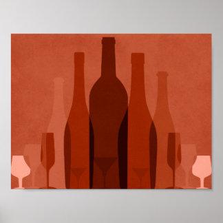 Modern orange wine bottles poster