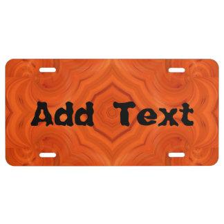 Modern orange wood pattern license plate