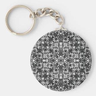 Modern Oriental Pattern Basic Round Button Key Ring