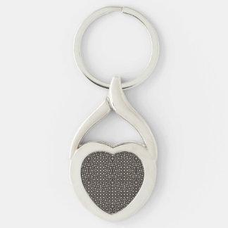 Modern Oriental Pattern Silver-Colored Twisted Heart Key Ring