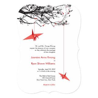 Modern Origami Hanging Paper Cranes Wedding Invite