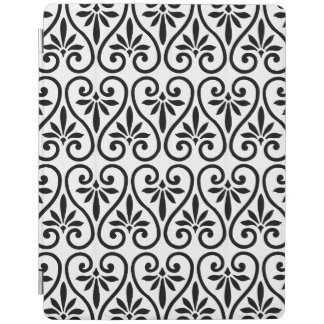 Modern Ornamental Black Damask Scroll Pattern iPad Cover
