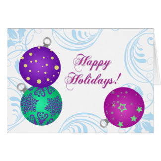 Modern Ornaments Folded Holiday Greeting Card