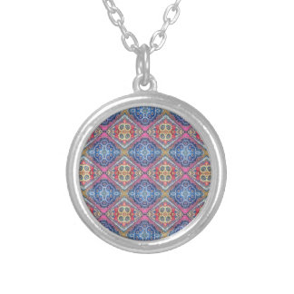 Modern Ornate Seamless Pattern002 Silver Plated Necklace