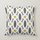 Modern Oval Links Pattern in Mustard and Grey Cushion