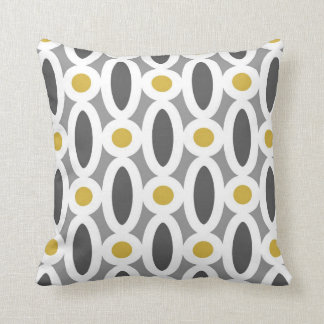 Modern Oval Links Pattern in Mustard and Grey Cushions