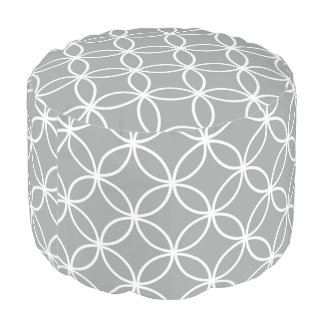 Modern Overlapping Circles Pattern Grey and White Pouf