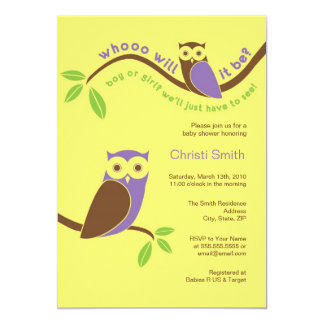 Modern Owl Baby Girl Shower Invitation 5 x 7 Neutr