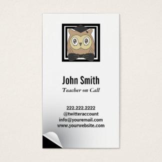 Modern Owl Substitute Teacher Business Card