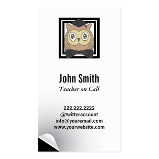 Modern Owl Substitute Teacher Business Card