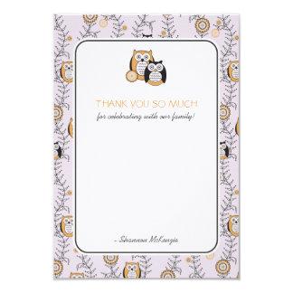 Modern Owls Thank You Flat Cards 9 Cm X 13 Cm Invitation Card