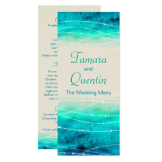 Modern painted abstact sparkle seas wedding menu card