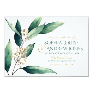 Modern painted botanical greenery rustic wedding card