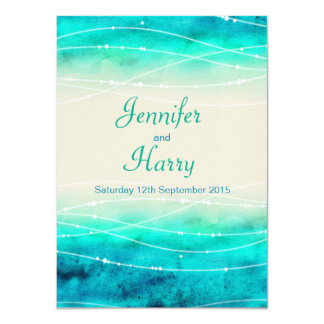 Modern painted sparkle seas wedding invite