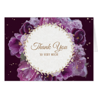 Modern Painted Violet Purple Gold Floral Thank You Card