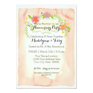 """Modern Painterly Floral Wedding Anniversary Party 5"""" X 7"""" Invitation Card"""