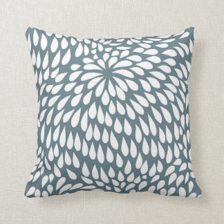 Modern Paisley Flower in Blue Grey and White Cushion