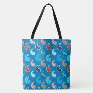 Modern Paisley pattern, Cerulean Blue, Tan & Aqua Tote Bag