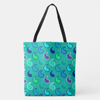 Modern Paisley pattern, Turquoise, Blue and Aqua Tote Bag