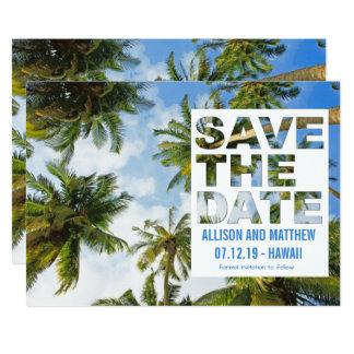 Modern Palm Beach Wedding Save the Dates Card
