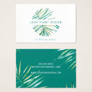 MODERN PALM LEAF LOGO lush botanical life green Business Card