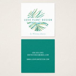 MODERN PALM LEAF LOGO lush botanical life green Square Business Card