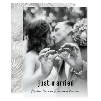 Modern Palm Leaves Just Married Announcement Party
