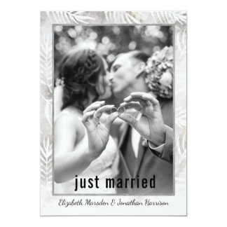 Modern Palm Leaves Just Married Photo Announcement