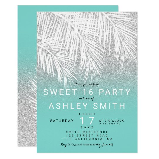 Modern palm tree silver glitter turquoise Sweet 16 Card
