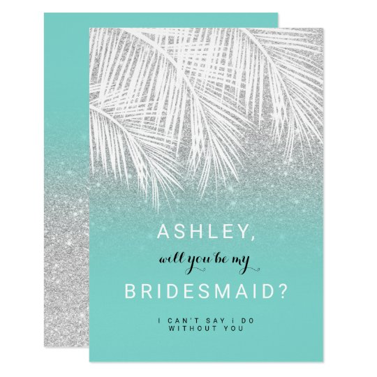 Modern palm tree silver turquoise Bridesmaid Card