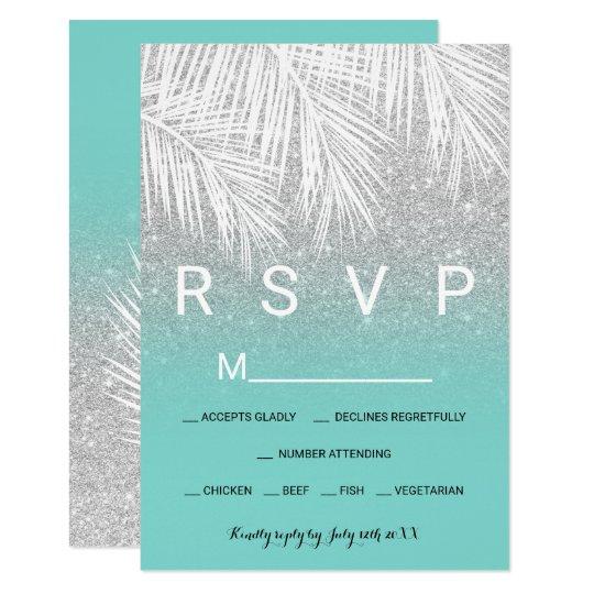 Modern palm tree silver turquoise RSVP wedding Card