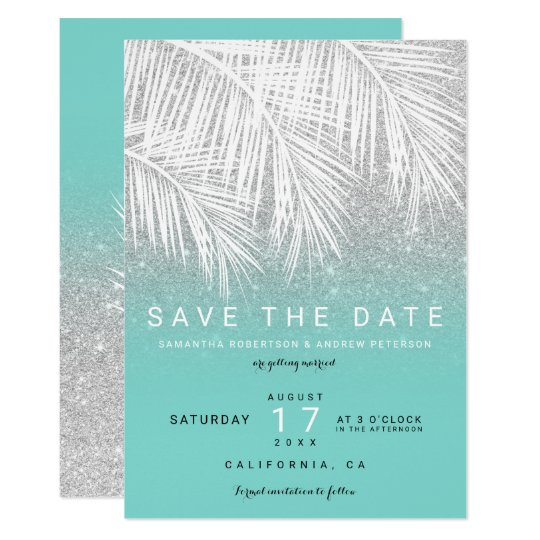 Modern palm tree silver turquoise save the date card