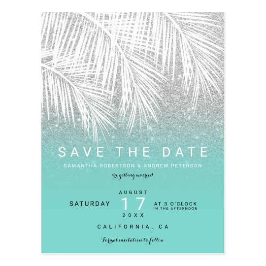 Modern palm tree silver turquoise save the date postcard