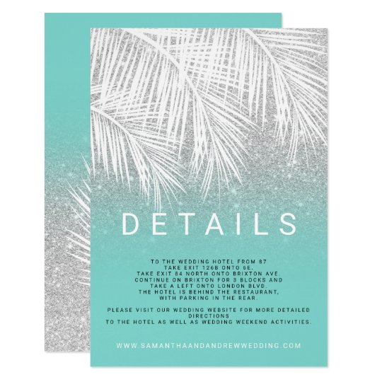 Modern palm tree silver turquoise wedding details card