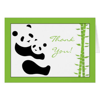 Modern Panda & Bamboo Thank You Card
