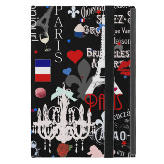 Modern Paris French black collage Cover For iPad Mini