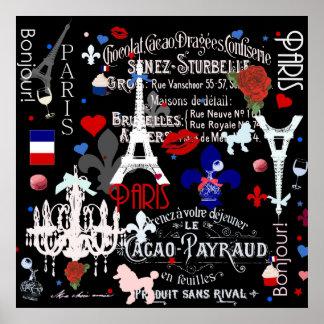 Modern Paris French black collage Poster
