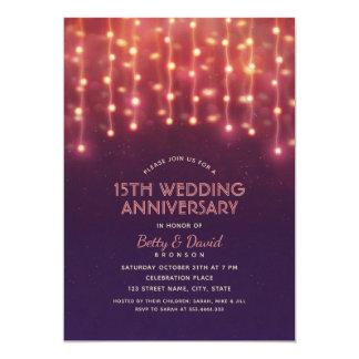 Modern Party Lights 15th Wedding Anniversary Card