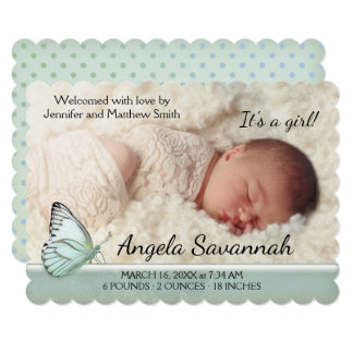 Modern Pastel Butterfly Baby Photo Announcement