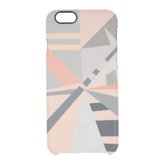 Modern pastel coral gray geometric pattern clear iPhone 6/6S case