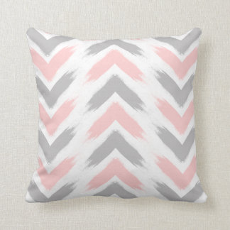 Modern pastel pink gray arrow brushstrokes pattern throw pillow