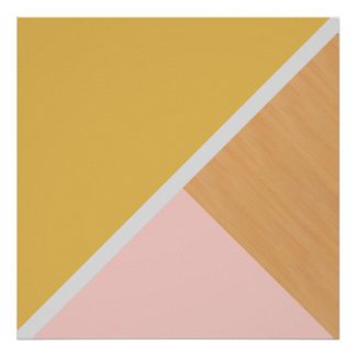 Modern pastel pink mustard wood color block poster