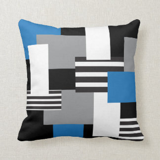 Modern Patchwork Med Blue Black Gray White Pillow