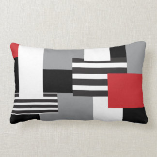 Modern Patchwork Red Black Gray White Throw Pillow Throw Cushions