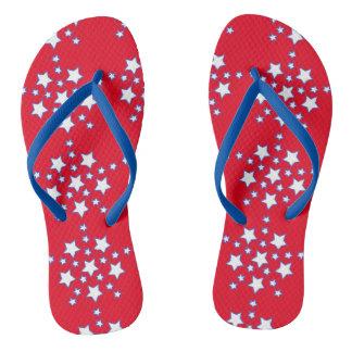 Modern Patriotic Red White Blue Stars Flip Flops Thongs