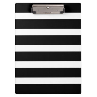 Modern Pattern Black and White Wide Stripes Clipboards