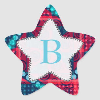 Modern Pattern Monogram Blue Red Star Sticker