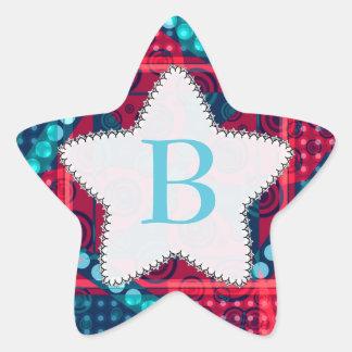 Modern Pattern Monogram Blue Red Star Sticker