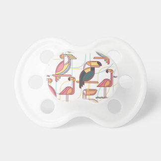 Modern Pattern With Tropical Birds Baby Pacifier