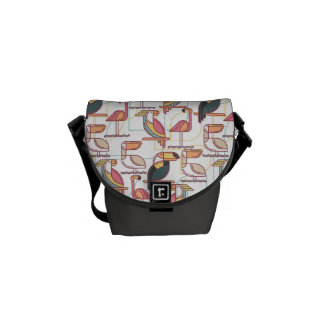 Modern Pattern With Tropical Birds Courier Bags
